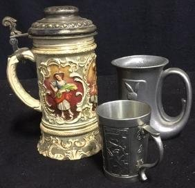 Group Lot 3 Beer Stein and Pewter Mugs