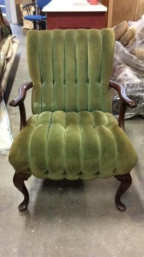 Green Velvet Channel back and Seat Bergere