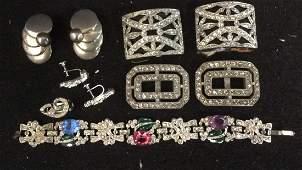 Group 10 Silver Tone Rhinestone Costume Jewelry