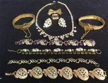 Group 10 Gold Filled Costume Rhinestone Jewelry