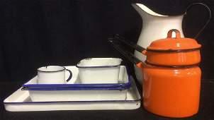Group Vintage Enamelware White Blue Orange