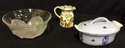 3 Tabletop Pieces Stoneware And Glassware