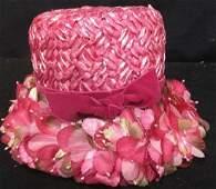 Vintage Hot Pink Floral Ladies Hat