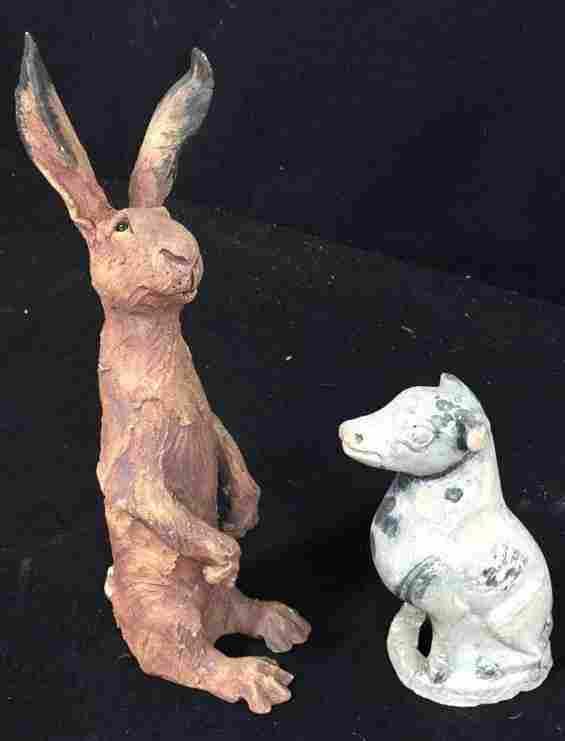 Clay Folk Art Hare And Cow