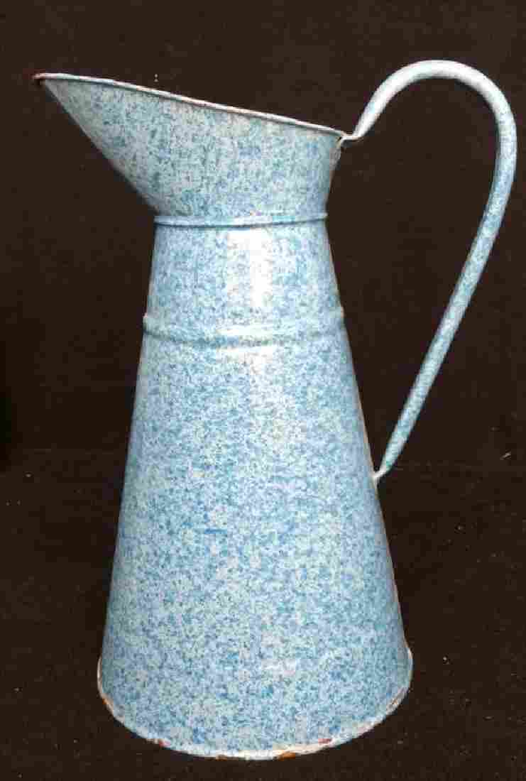 Antique English Blue Spackled Enamelware Pitcher