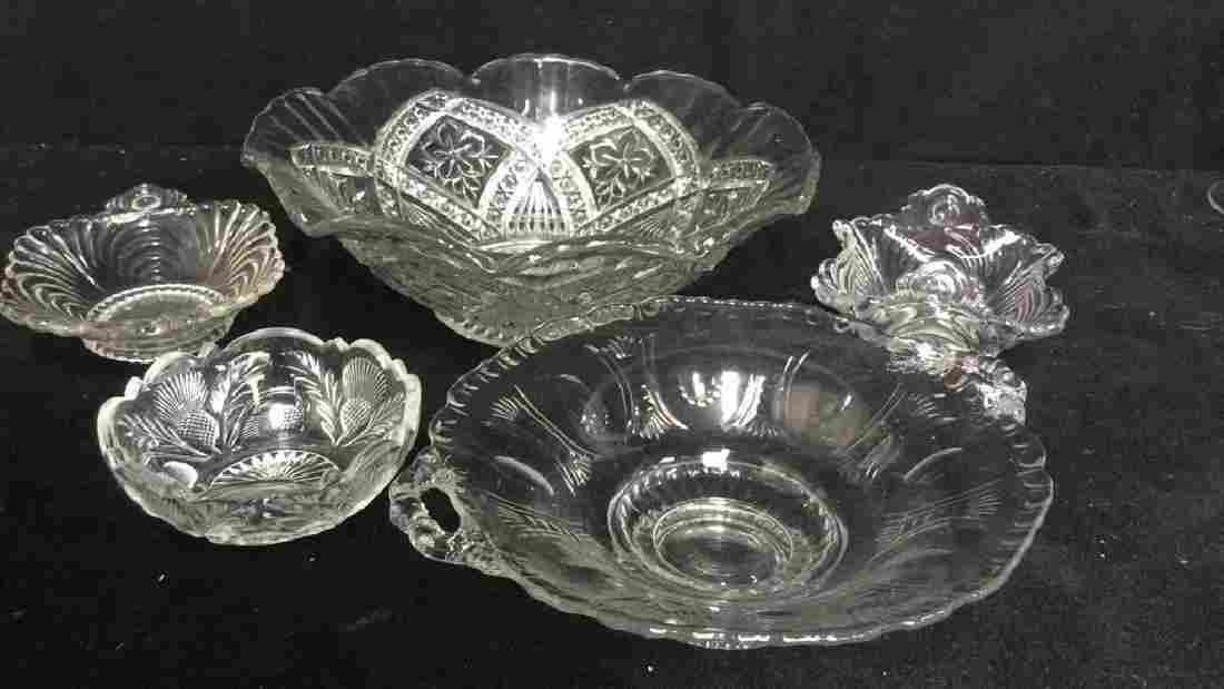 Group Lot 4 Crystal Cut Glass Bowls