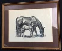 D. Schwartz Original Signed Drawing Horses