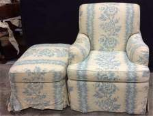 Upholstered Blue White Arm Chair W Ottoman
