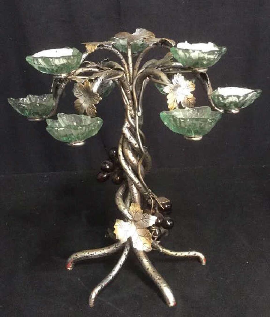 Grapevine Painted Metal Centerpiece w Tea Lights