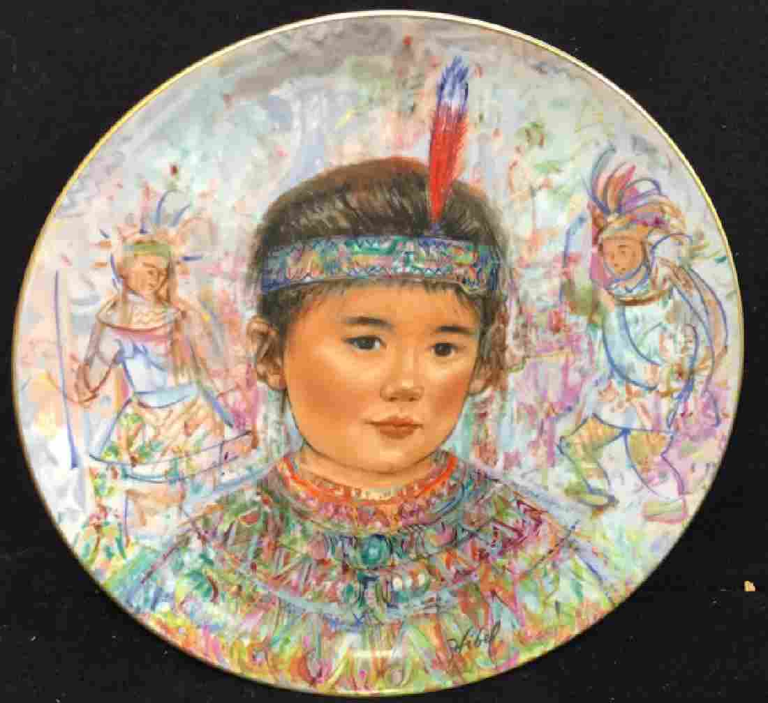 Edna Hibel Chief Red Feather Collectible Plate
