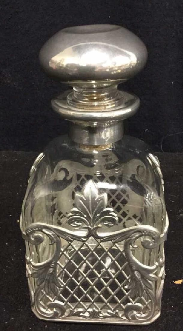 Vintage Signed Pewter And Glass Decanter