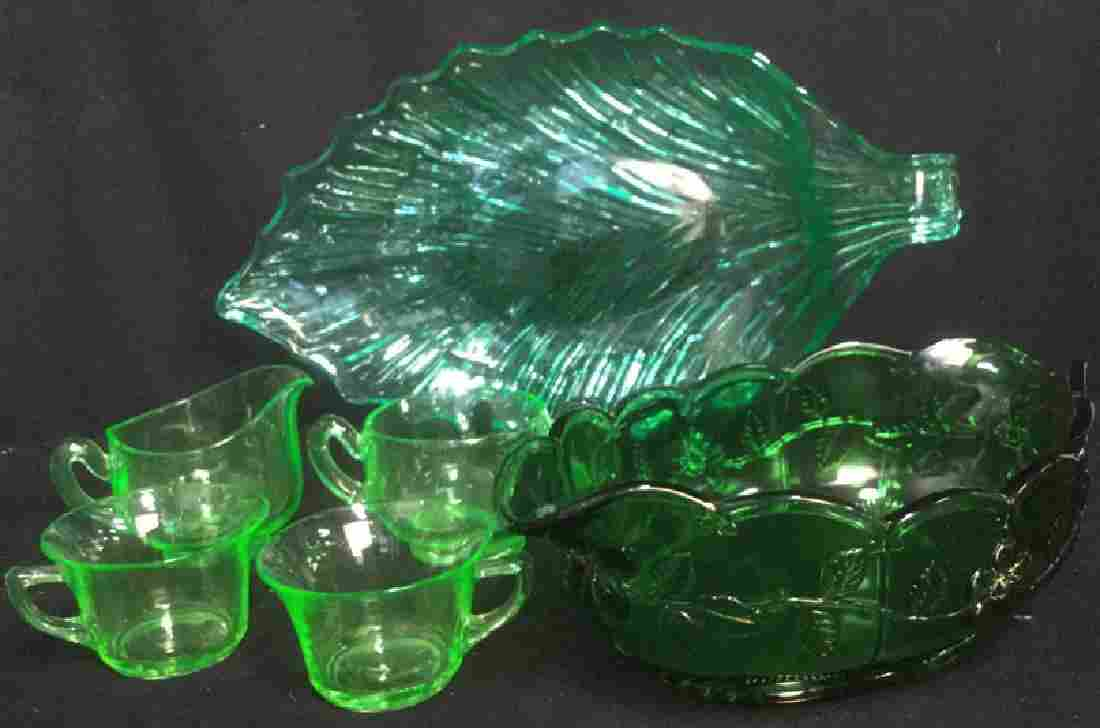 Group 6 Vintage Green Glass Table Top Accessories