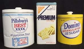 Group 3 Vintage Lidded Tins Crackers Sugar Flour
