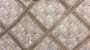 19thCAntique Signed Trellis Pattern Handmade Quilt