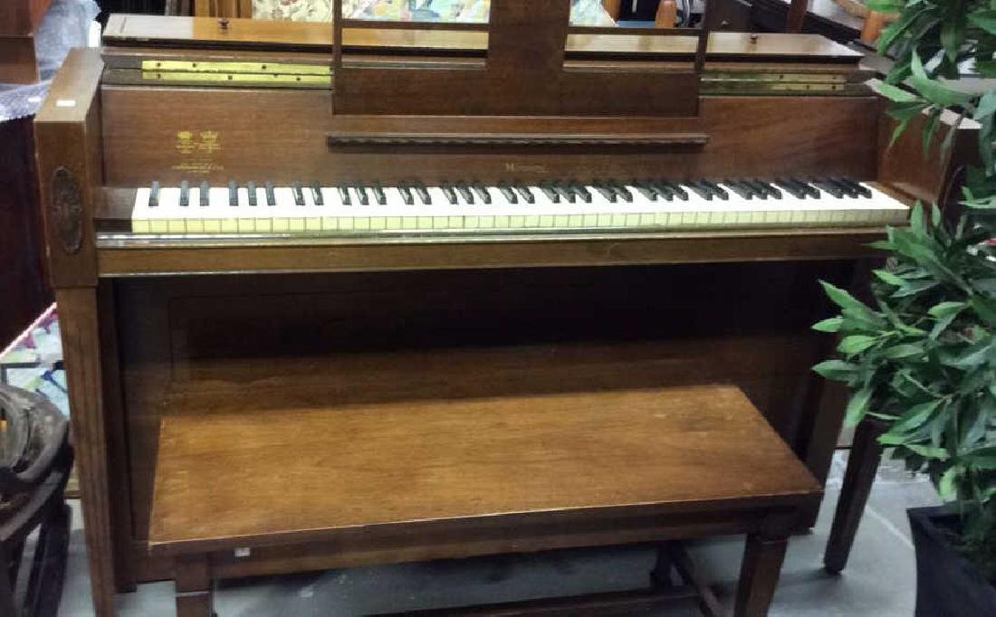 Vintage Upright Piano With Bench