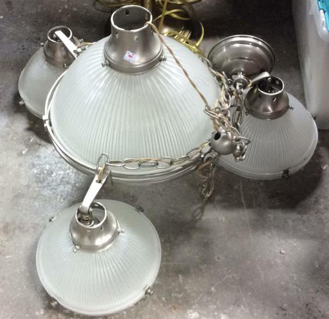 Vintage frosted Glass Chrome light fixture