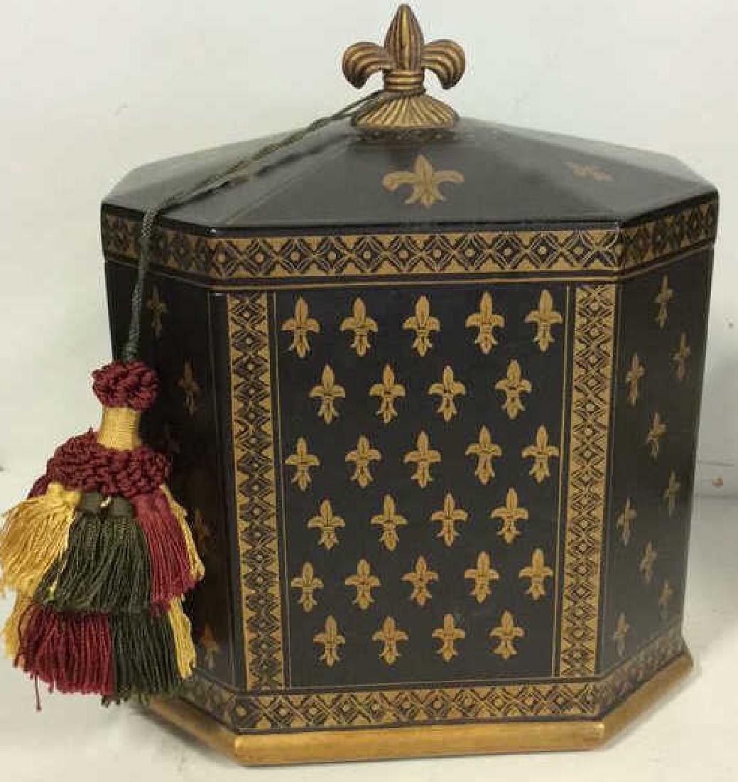 Decorative Black and Gold Lidded Box