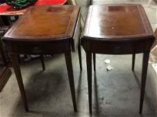 Pair Inlaid Leather Top Drop Leaf End Tables