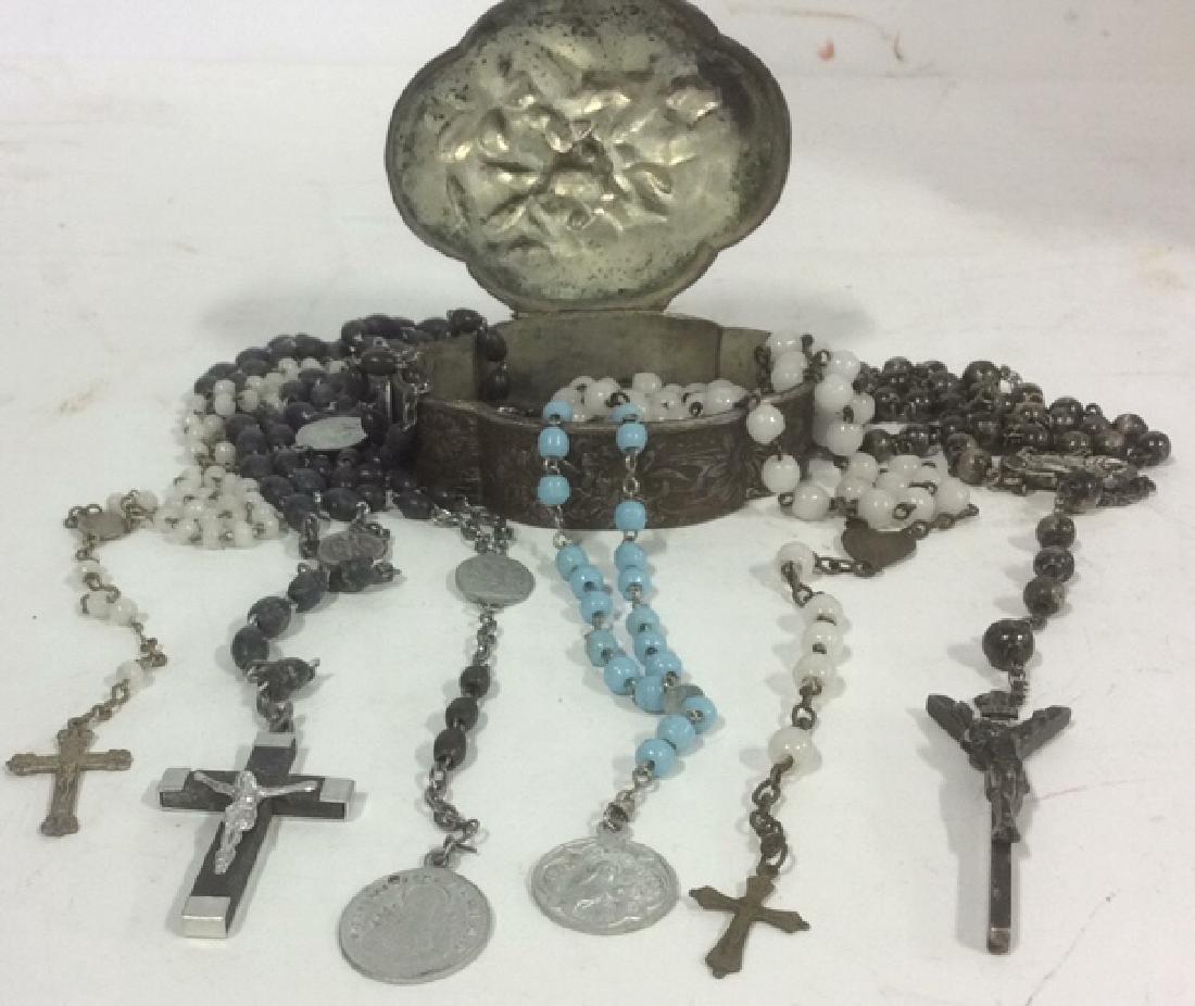Group of 6 Rosaries with Metal Trinket Box