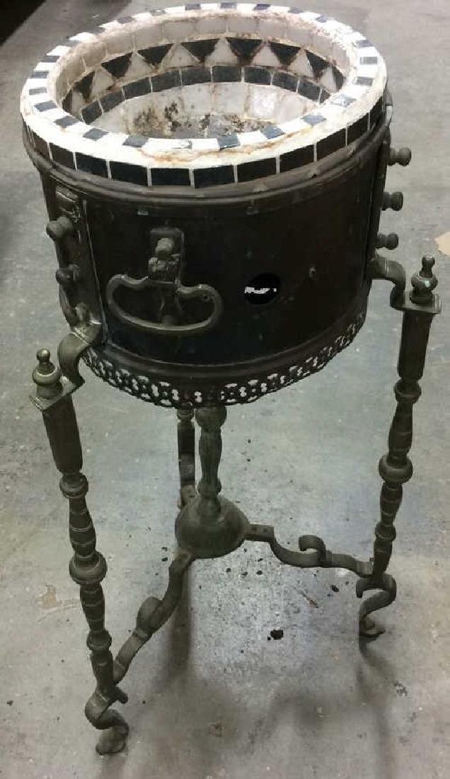 Antique Stone Brass Metal Smoking Table