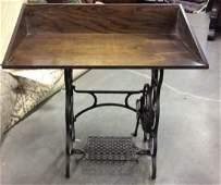 Antique Iron Sewing Machine Base w Desk Top