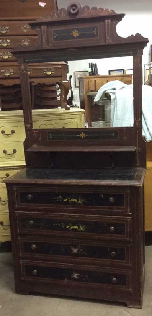 Antique Painted Victorian Dresser W Mirror
