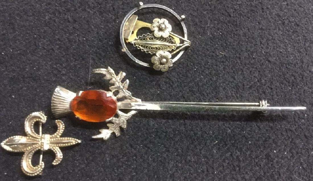 Group Lot 3 Vintage Sterling Silver Brooches