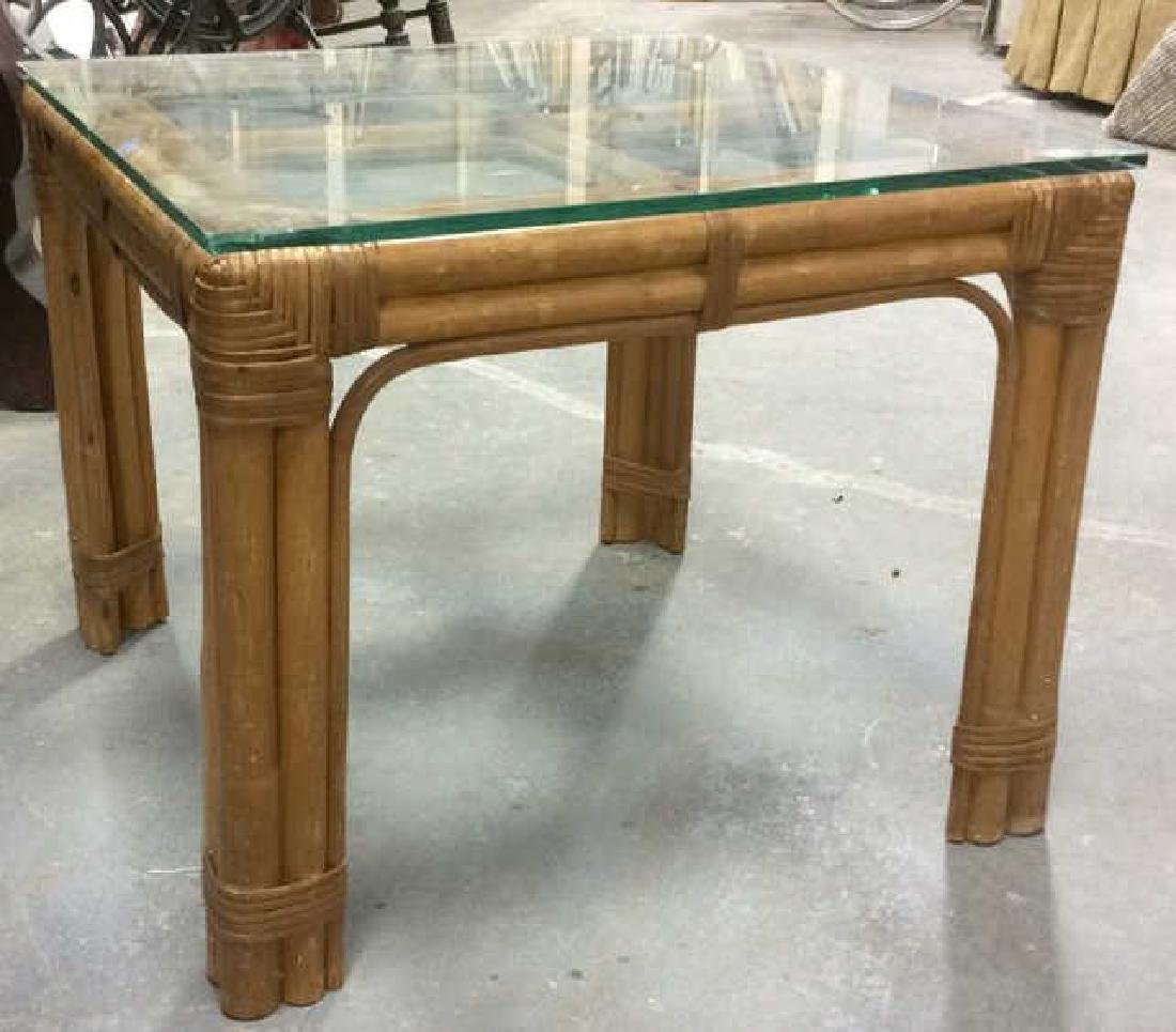 Vintage Bamboo Glass End Table