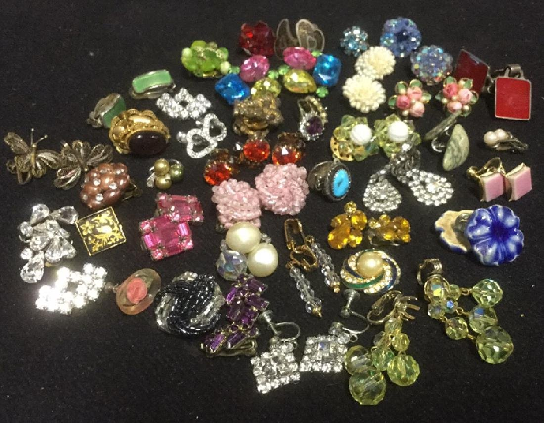 Group Lot Vintage Costume Clip On Earrings
