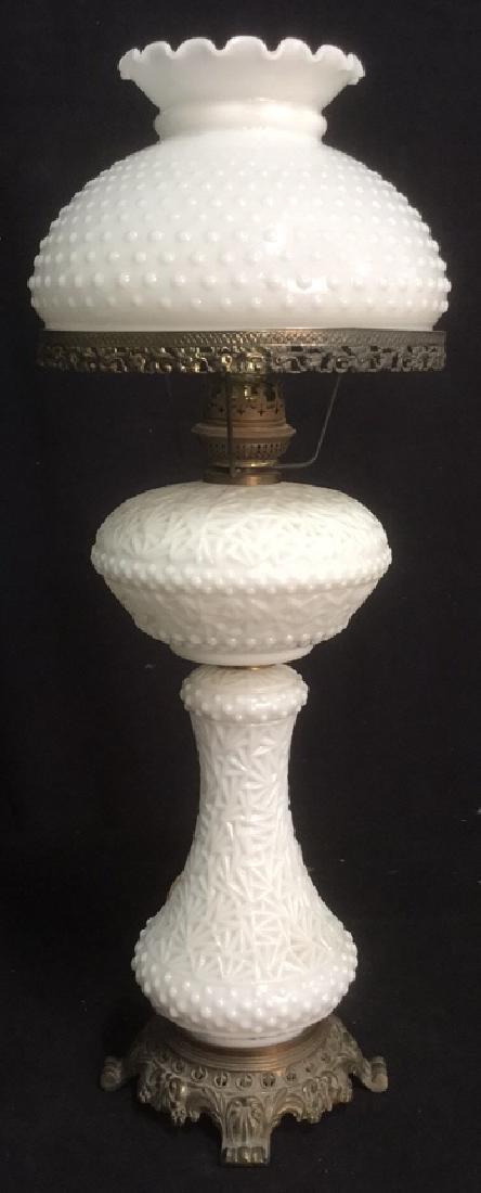 Antique Milk Glass Hobnail Hurricane Parlor Lamp