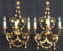 Pair Art Nouveau Gilded 3Arm Wall Candelabras