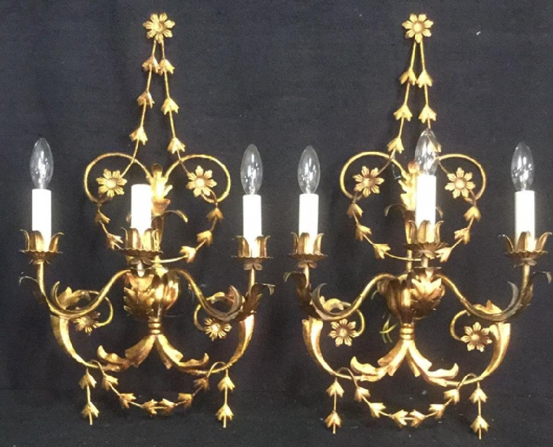 Pair Art Nouveau Gilded 3-Arm Wall Candelabras