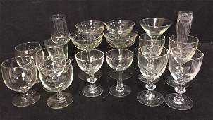 Group Lot Assorted Crystal And Glass Stemware