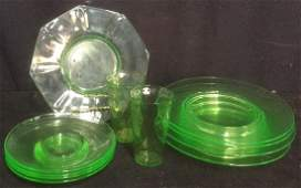 Group of 11 Vintage Vaseline Glass Tableware