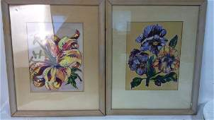Pair Signed Water Color Floral artworks