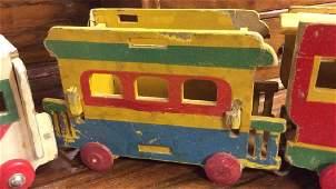 Antique Wooden Toy Train Set