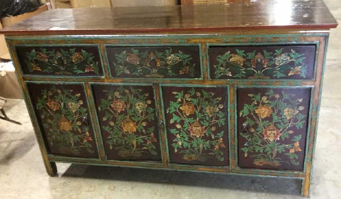 Hand Painted Carved Indonesian Style Chest