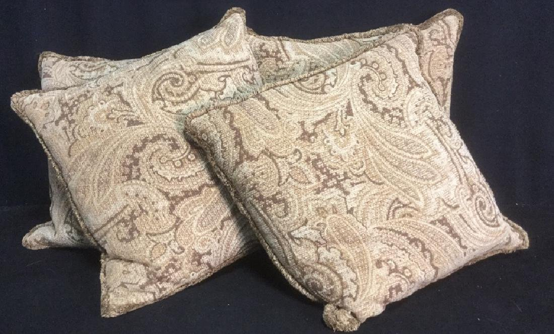 Group 4 Custom Paisley Throw Pillows Sandy Browns