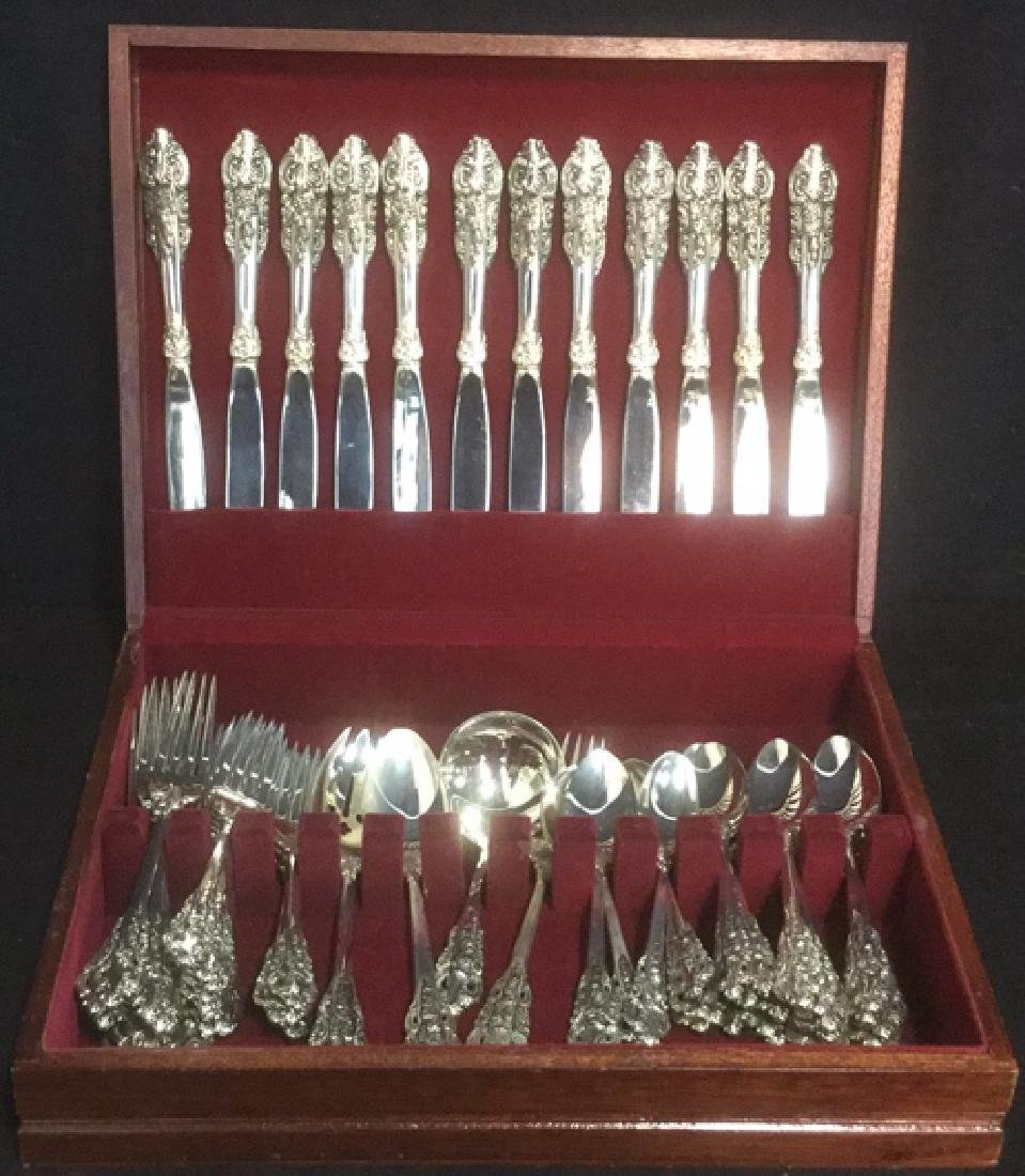 GODINGER 63 Piece Baroque Silver Plate Flatware