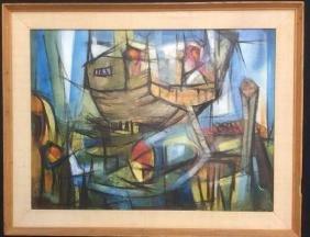 CLARE JORDAN Mid Century  Abstract Acrylic Canvas