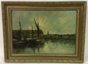 G.H. LAMBERT Vintage Oil On Canvas Fishing Boat