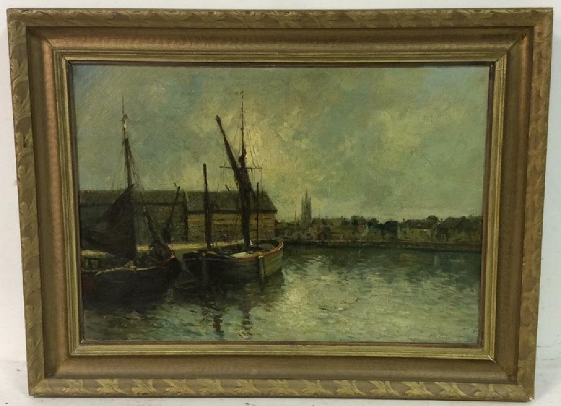 G.H. LAMBERT Vintage Oil on Canvas Fishing Boat