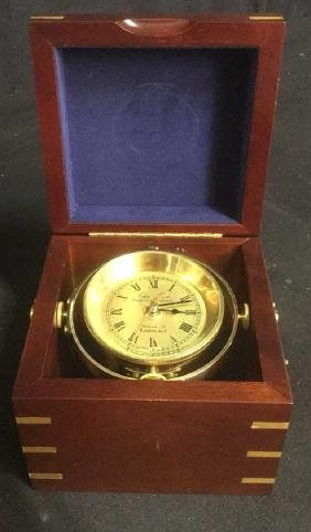 JOHN POOLE Wood Encased Maritime Brass Clock