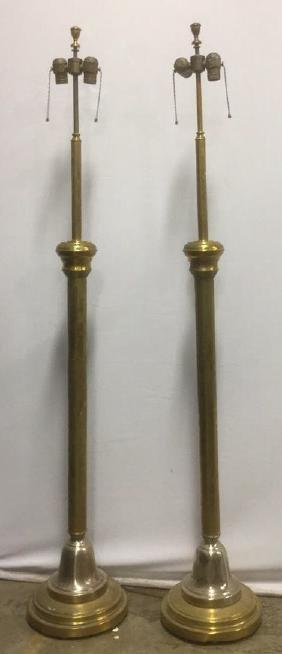 Pair Antique Brass Double Socket Floor Lamps