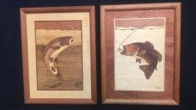 Pair Fly Fishing Marquetry Artist Signed
