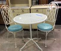 Outdoor white metal Table two chairs