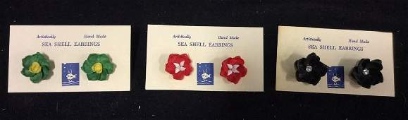 Group Vintage Hand Made Sea Shell Earrings