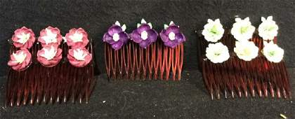 Group Vintage Hand Made Sea Shell Hair Combs