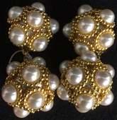 Estate Jewelry Costume gold pearl drop earrings