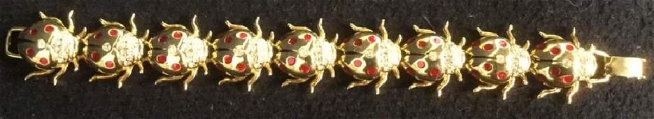 Estate Jewelry Rhinestone Linked Lady Bug Bracelet